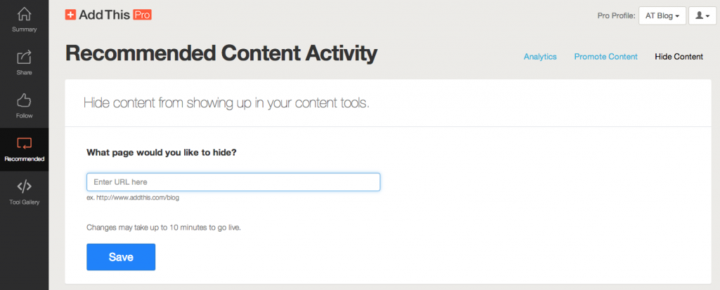 Hiding Content with AddThis Pro