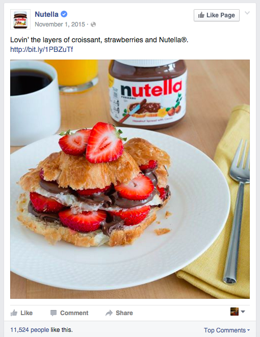 nutella facebook post