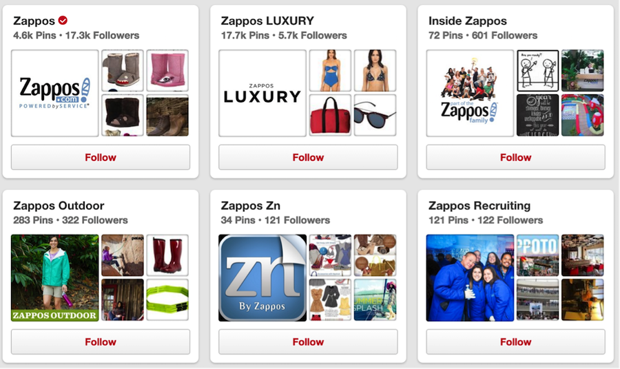zappos pinterest page