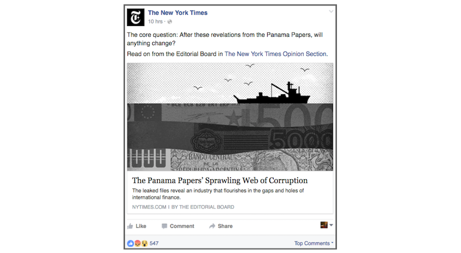 New York Times Facebook post