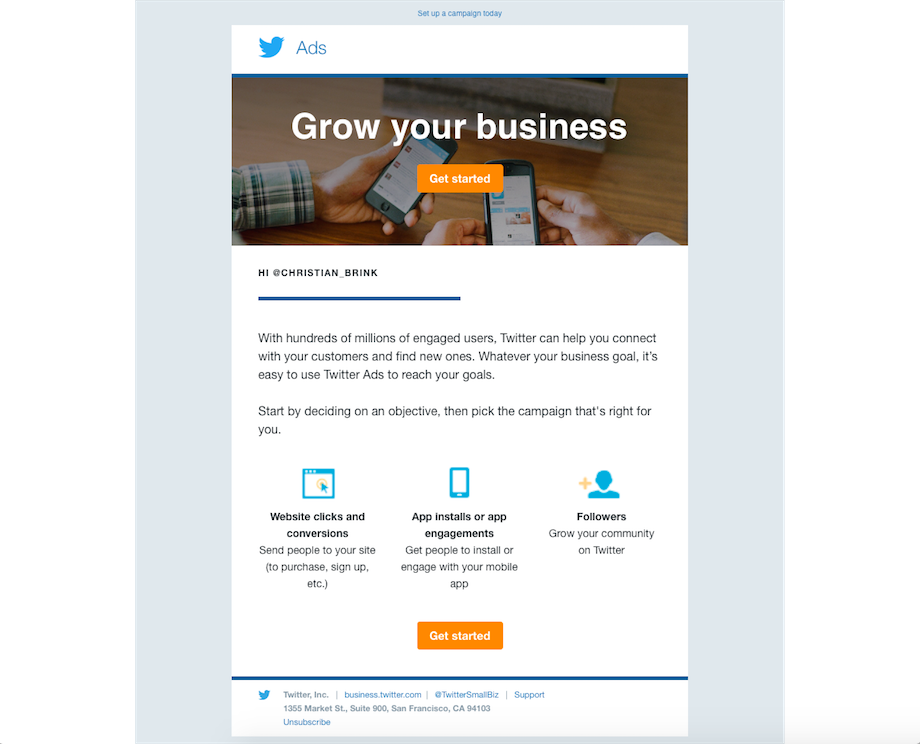 twitter email campaign