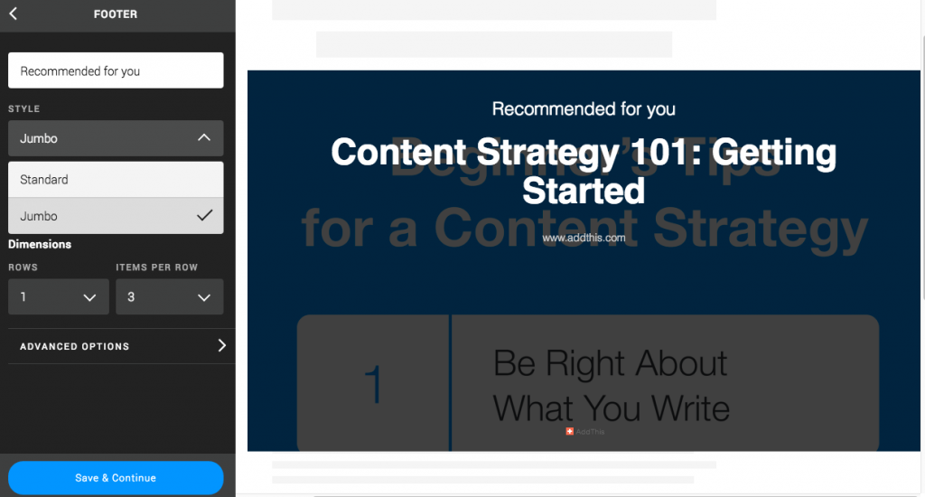 jumbo recommended content footer configuration