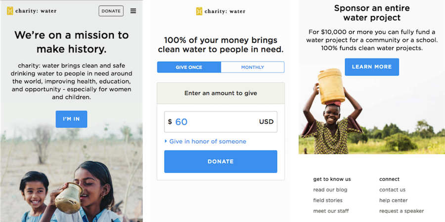 charity water mobile site
