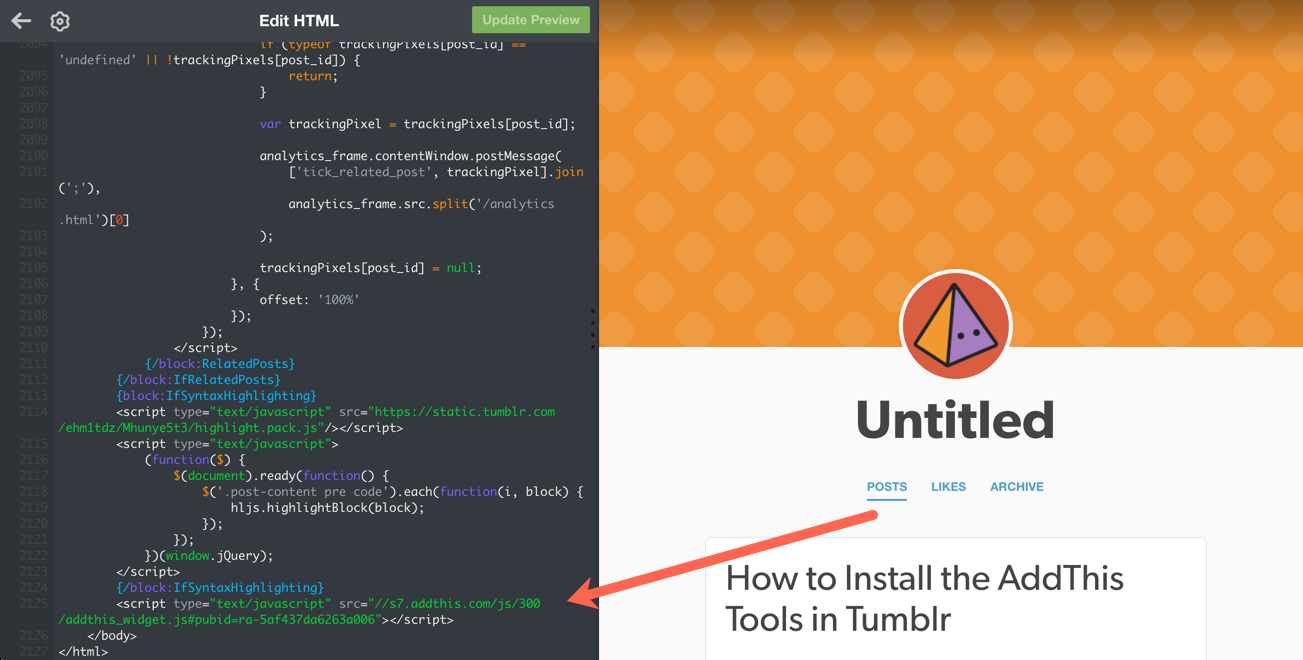 Insert AddThis JavaScript in footer