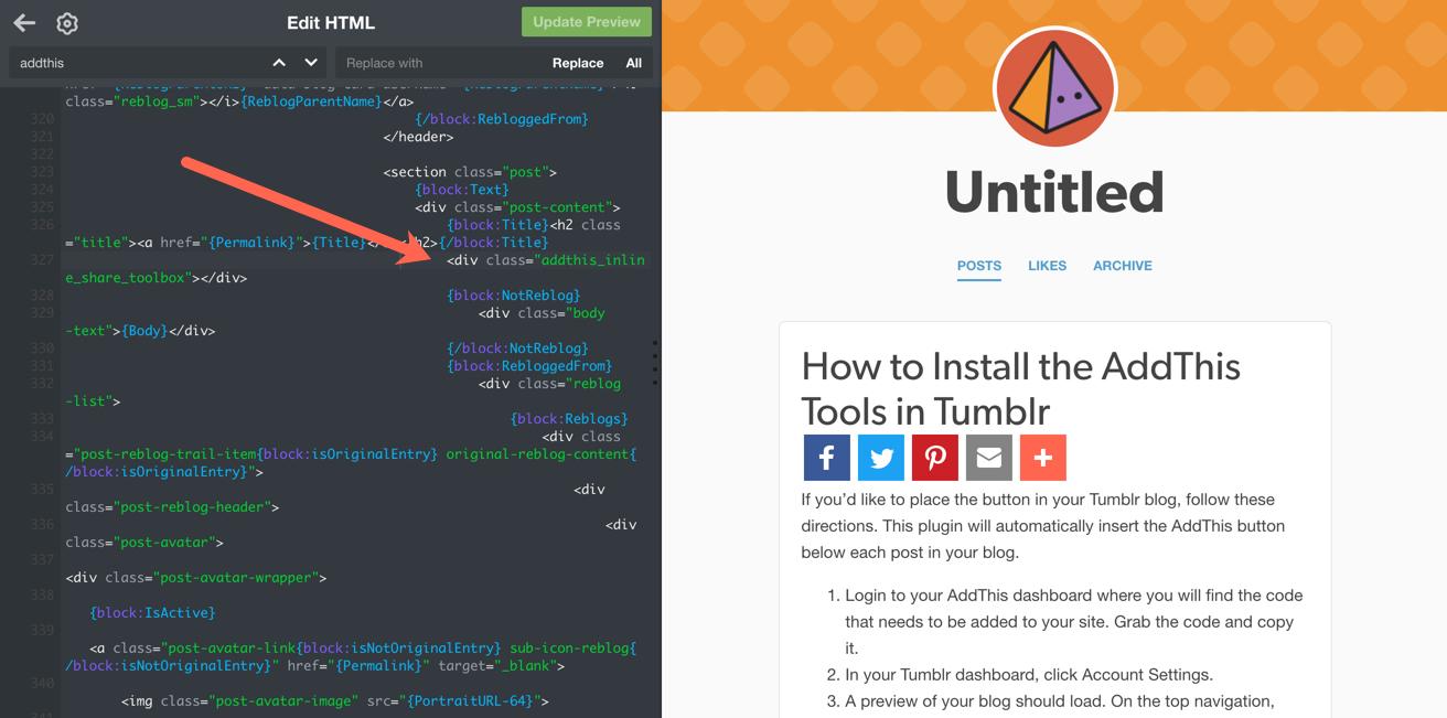 Insert Inline code into Tumblr theme