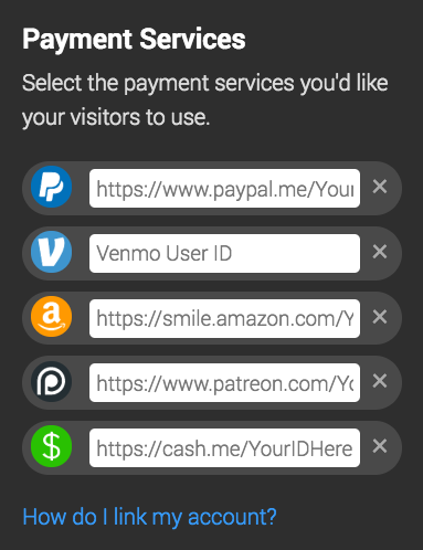 website tip jar payment selector