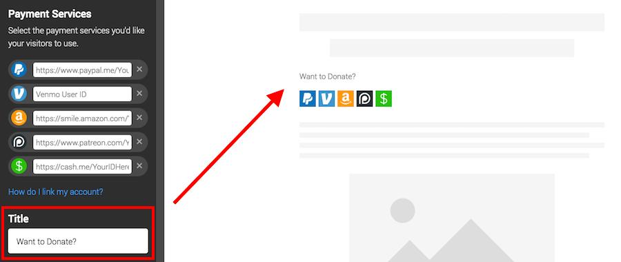 website tip jar button title