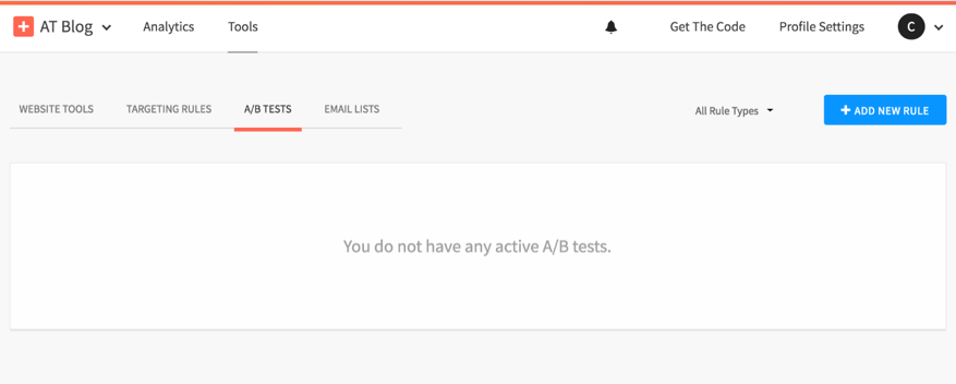Screenshot of the AddThis dashboard with the A/B test feature that's no longer supported.