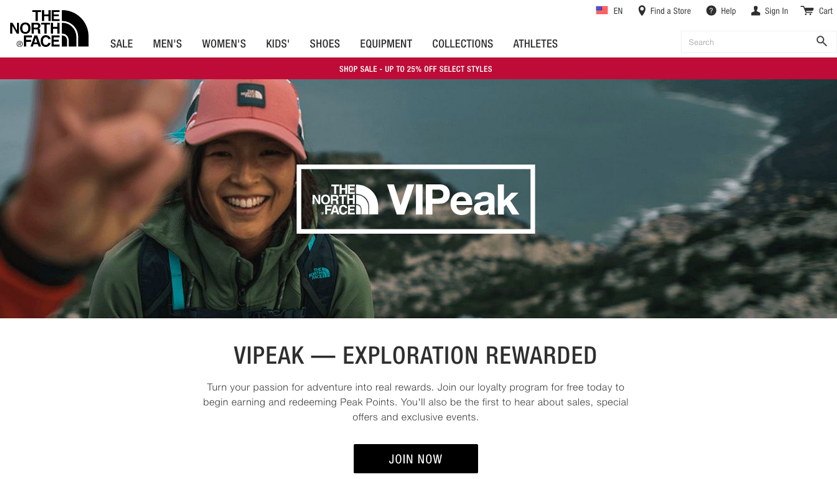 Image of The North Face's ecommerce website showing information about their customer rewards program.