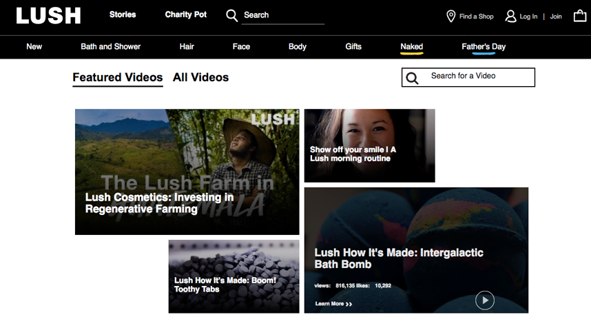 Image of Lush's ecommerce website featuring videos showing how their products are made.