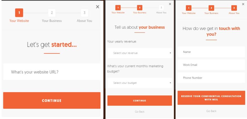 Neil Patel lead form for mobile conversions