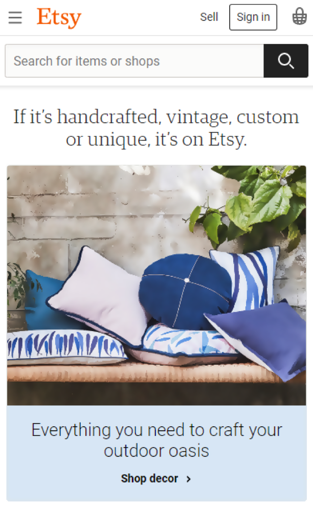 Etsy mobile experience