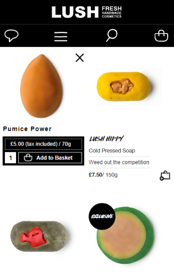 Lush mobile experience