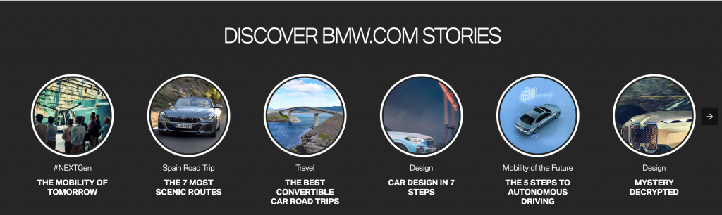 Screenshot of BMW web page featuring AMP stories.